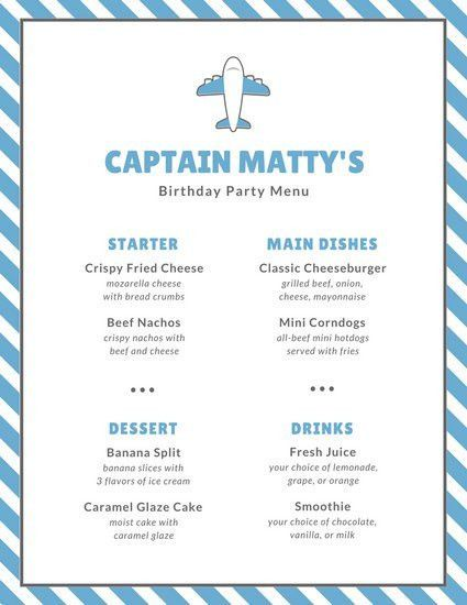 Blue and Gray Airplane Kids Menu - Templates by Canva