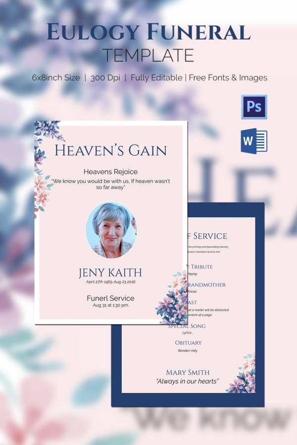 Funeral Program Template - 10+ Free Word, PSD Format Download ...