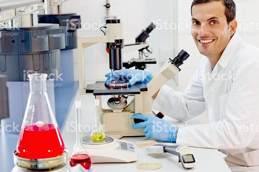 Chemist At His Work Station In A Pharmaceutical Lab stock photo ...
