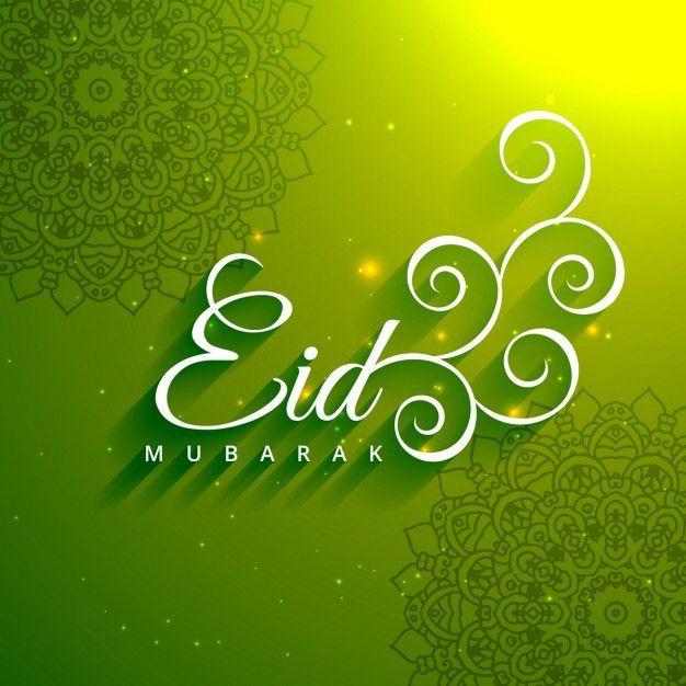Eid mubarak creative text in green background Vector | Free Download