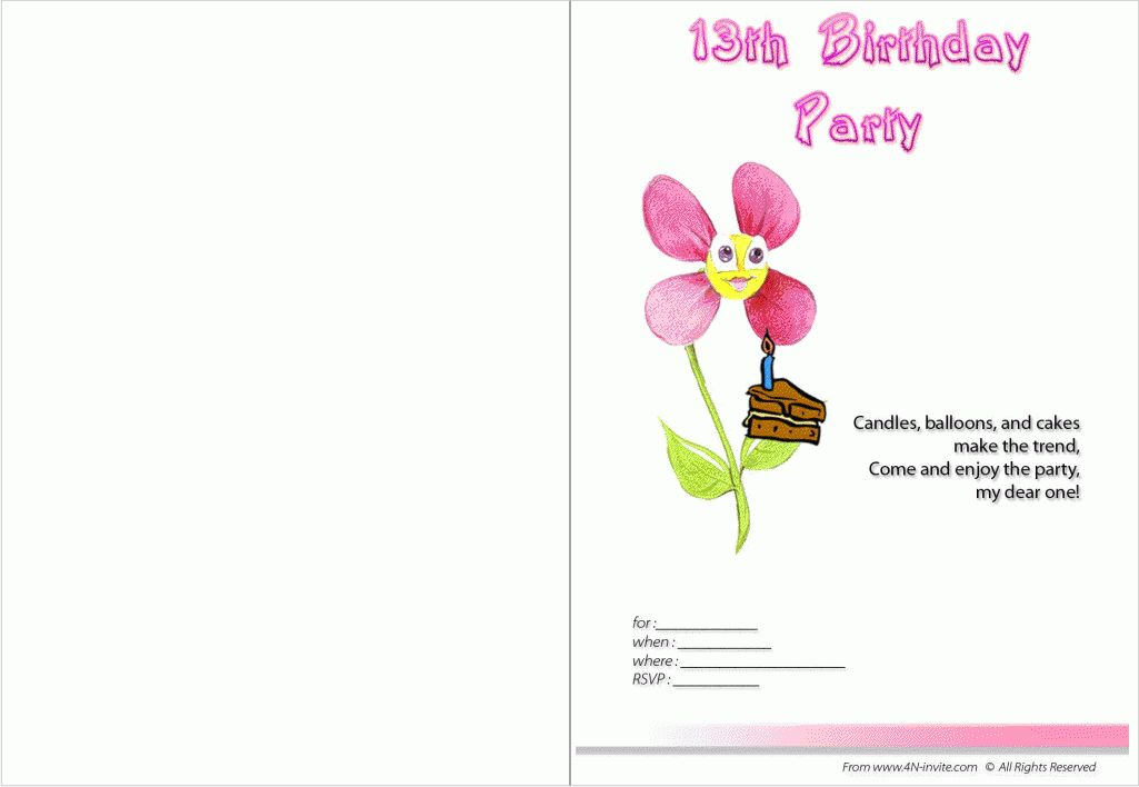 13th Birthday Party Invitations Templates Free | Pictures Reference