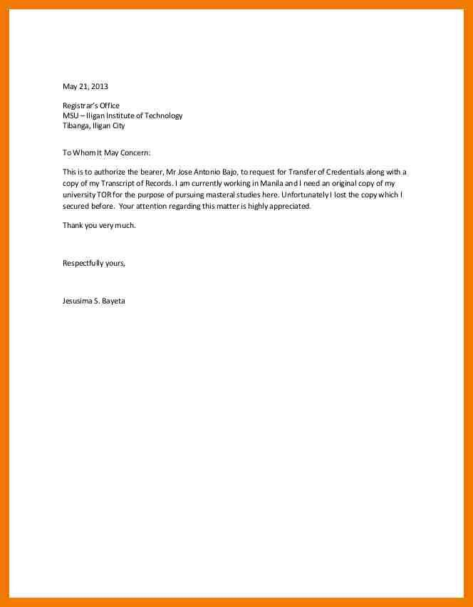 5+ authorization letter to claim documents | mailroom clerk