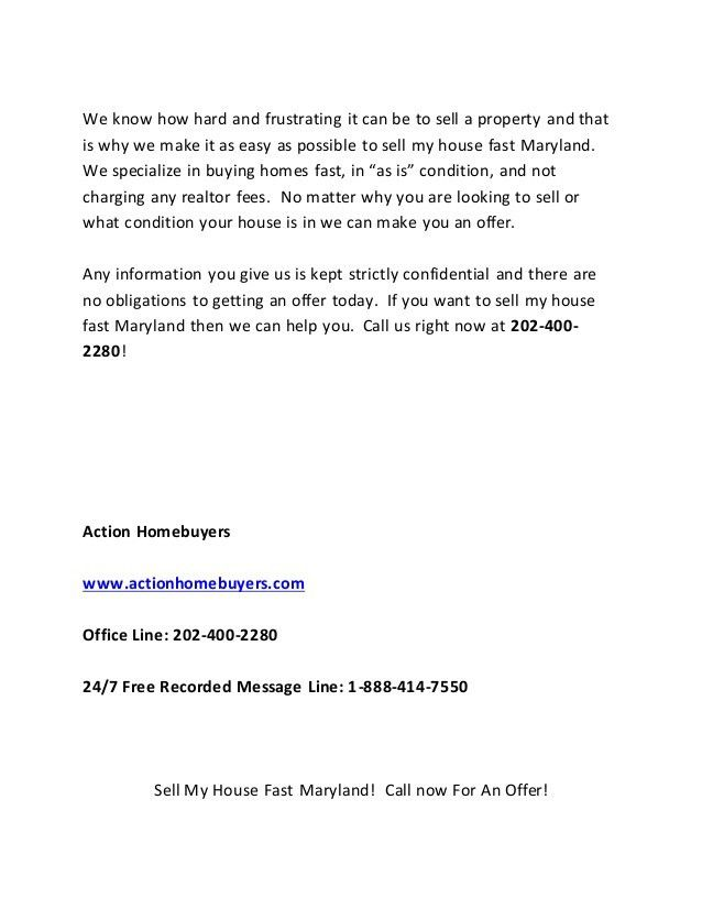 Sell My House Fast Maryland | Call 202-400-2280 | We Buy Houses Maryl…