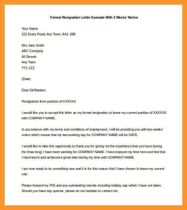 formal two weeks resignation letter | sop example