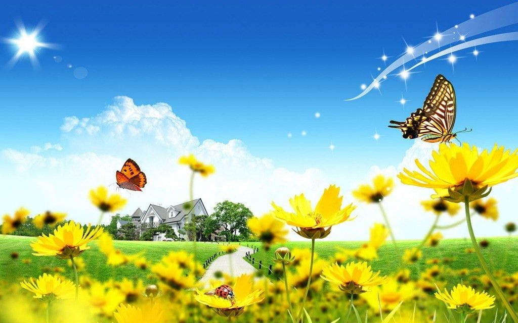 Free Yellow Flowers And Butterflies, Spring, House Backgrounds For ...