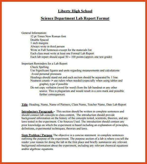 lab report format | moa format