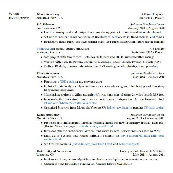 Sample Software Developer Resume - 10+ Free Documents Download in ...