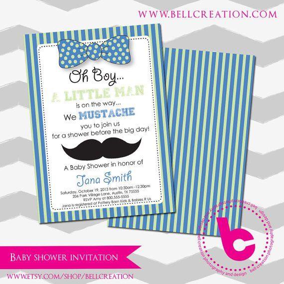 Mustache Baby Shower Invitation Templates #16866