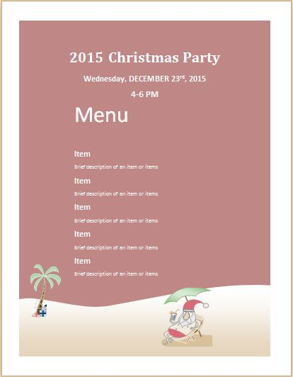Christmas Party Menu Sheet Template MS Word | Word & Excel Templates
