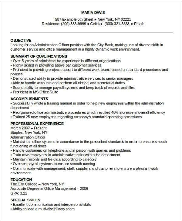26+ Professional Administrative Resume Templates | Free & Premium ...