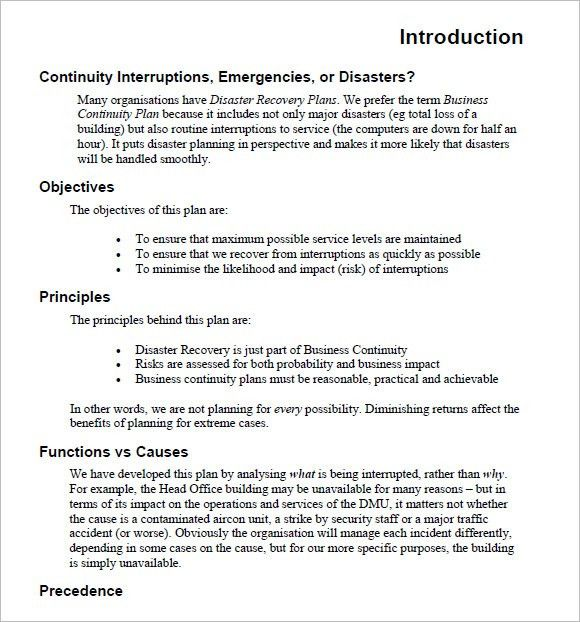 Sample Business Continuity Plan Template – 13+ Free Samples ...