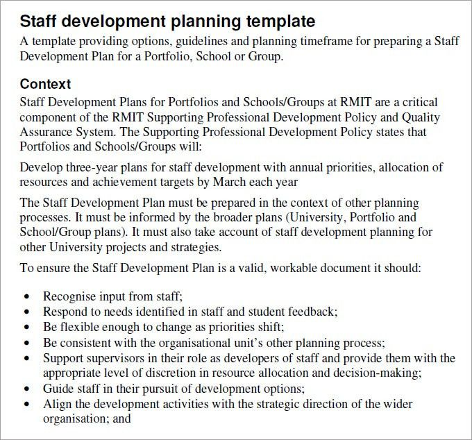 Staff Development Plan Template - Development Plan Template | Free ...