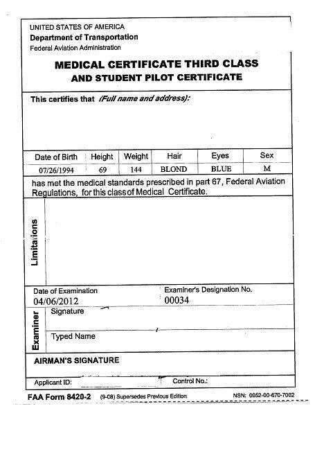 Medical Certificate — FCA Flight Center