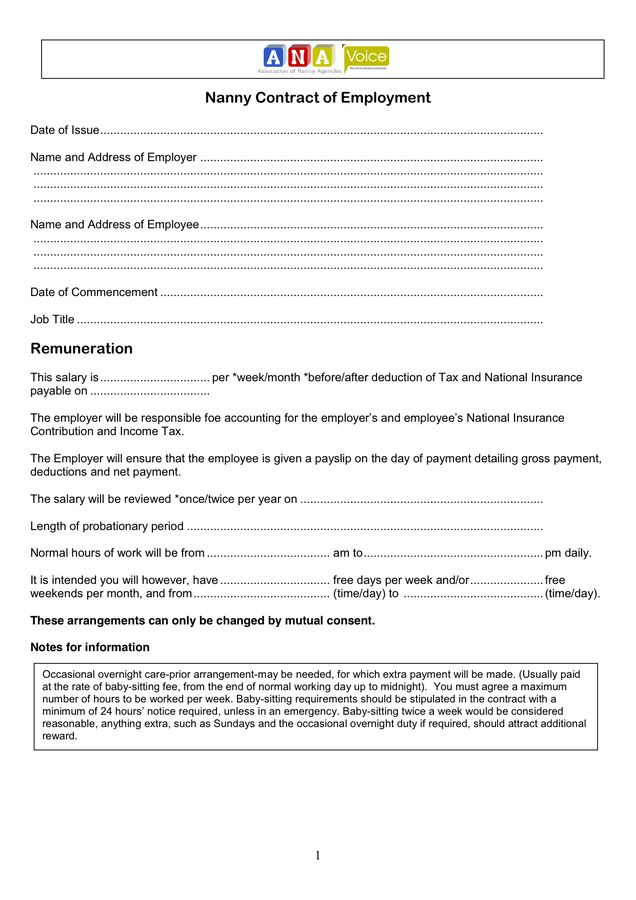 Nanny Contract of Employment in Word and Pdf formats