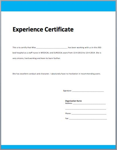 Work Experience Certificate Template | Microsoft Word Templates