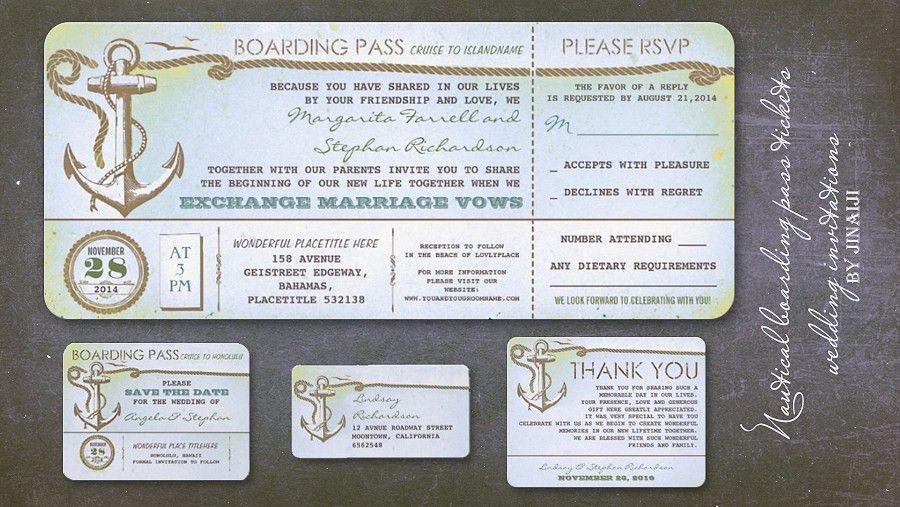 read more – NAUTICAL WEDDING INVITATION – BOARDING PASS TICKET ...