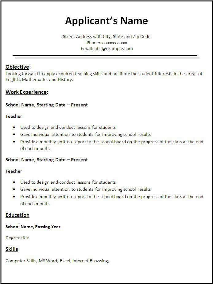first time resume template cover letter resume samples first job ...