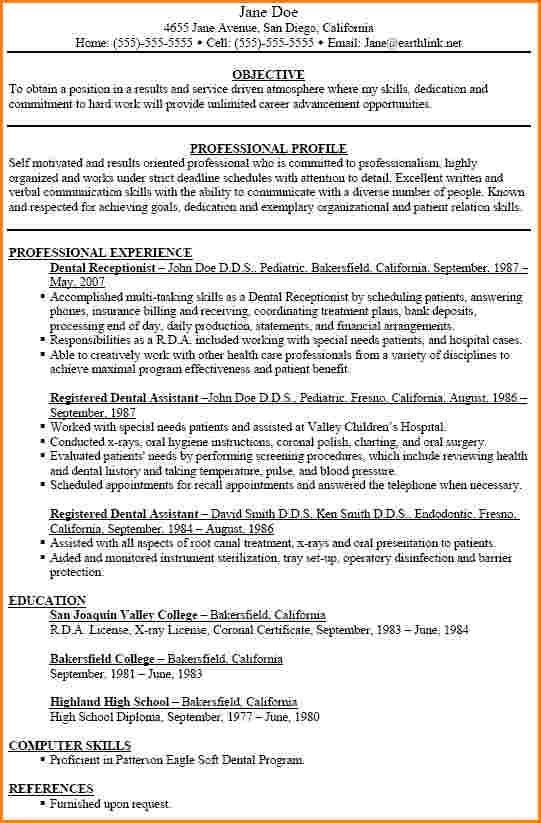 8+ dental assisting resume | worker resume