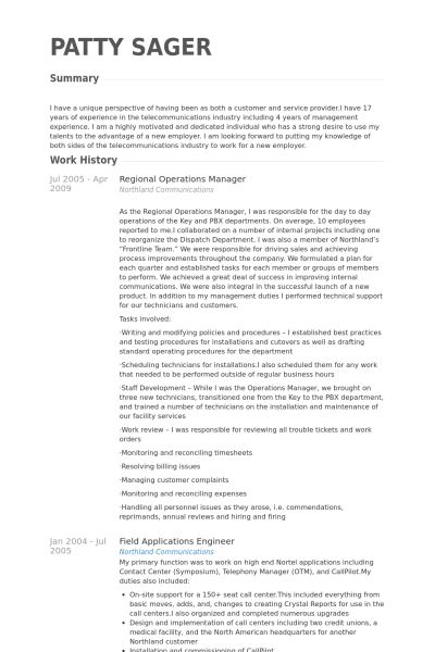 Regional Operations Manager Resume samples - VisualCV resume ...