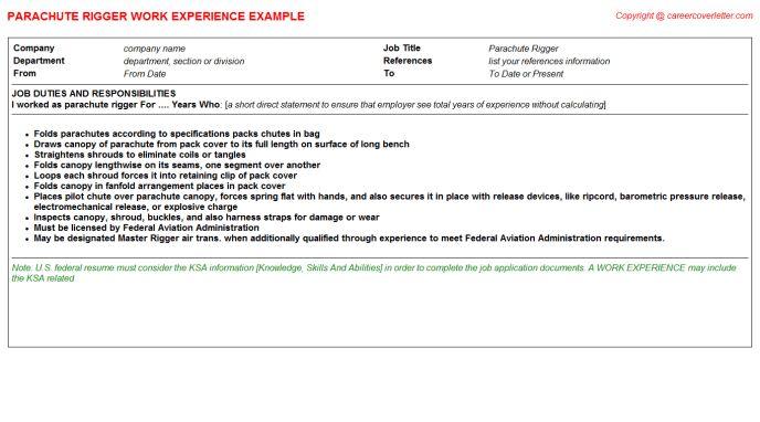 Parachute Rigger Job Title Docs