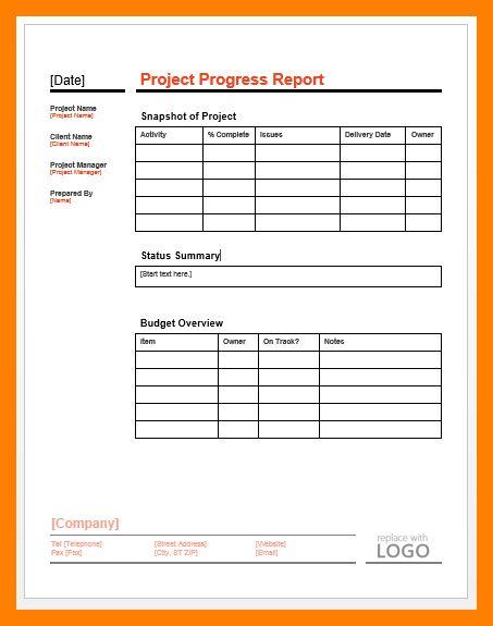 7+ progress report format | receipt sample
