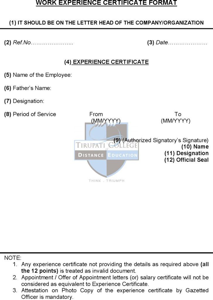 Doc.#400514: Experience Certificate Templates – Work Experience ...