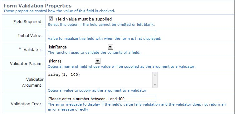 Examples of Form field Validation