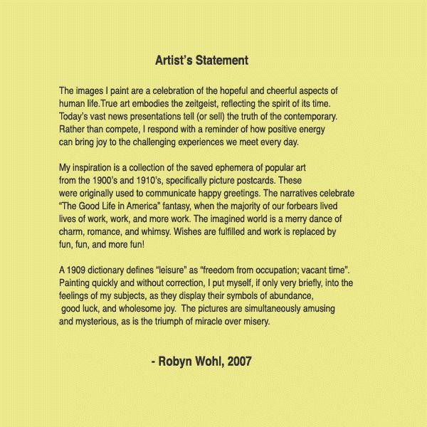 Robyn Wohl Artist's Statement