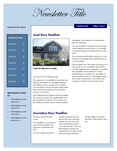 Free Newsletter Template – Microsoft Word Newsletter Template ...
