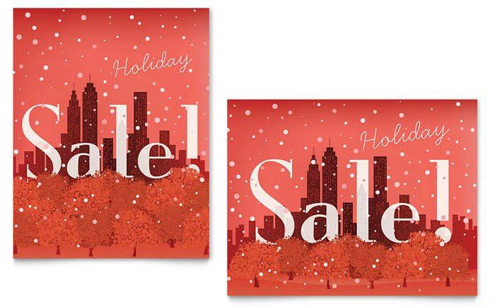 Cityscape Winter Holiday Sale Poster Template Design