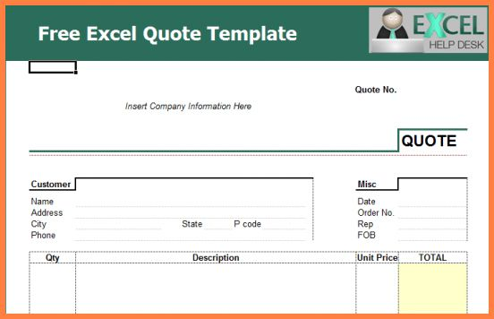Free Quote Template.price Quote Templates Excel.jpg - Sales Report ...