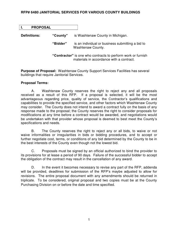 REQUEST FOR PROPOSAL # 6480 JANITORIAL SERVICES For VARIOUS ...