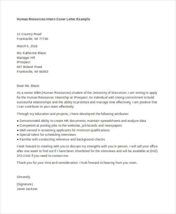 9+ Internship Cover Letter - Free Sample, Example Format Download ...