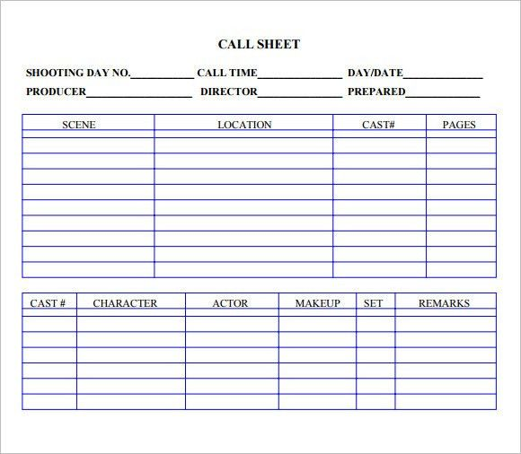 8+ Sample Call Sheet Templates   Free Sample, Example, Format