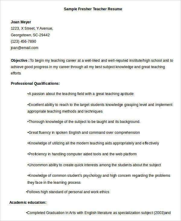 Free Teacher Resume - 40+ Free Word, PDF Documents Download | Free ...