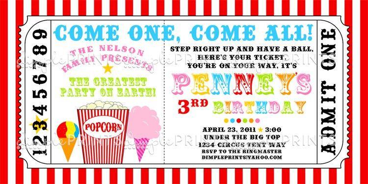 Carnival Ticket Printable Invite - Dimple Prints Shop