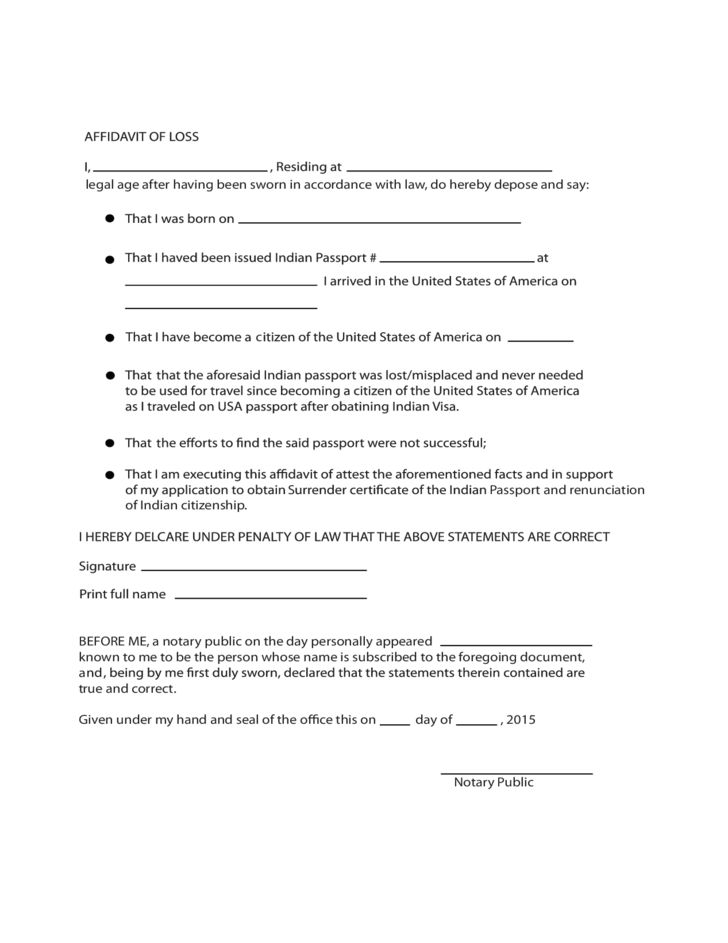 Affidavit of Loss Sample Form Free Download