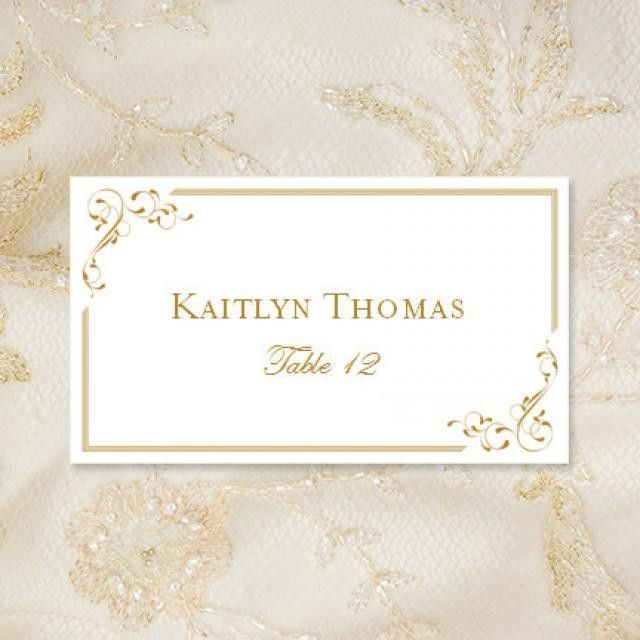 "Printable Place Cards ""Elegance"" In Gold Editable Word.doc Tent ..."