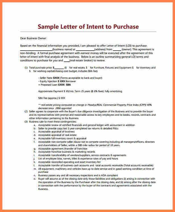 Letter Of Intent To Purchase Business. Letter Of Intent For Real ...