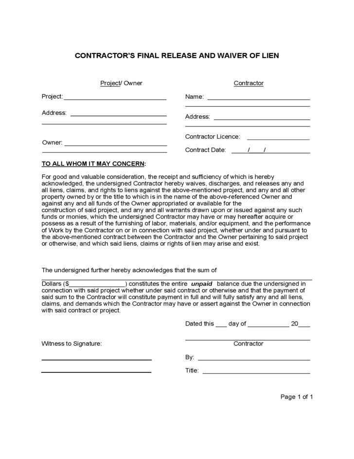 get high quality printable contractor lien waiver form editable ...