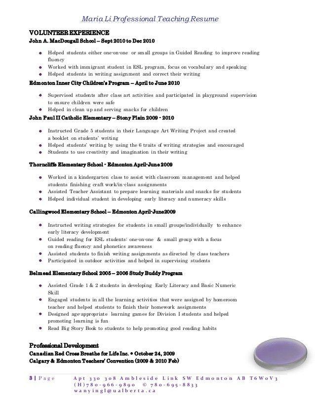Writing a teacher resume
