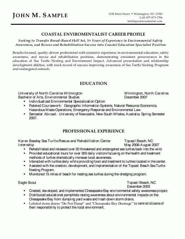 Resume Examples Environmental Services Sample Pertaining To ...