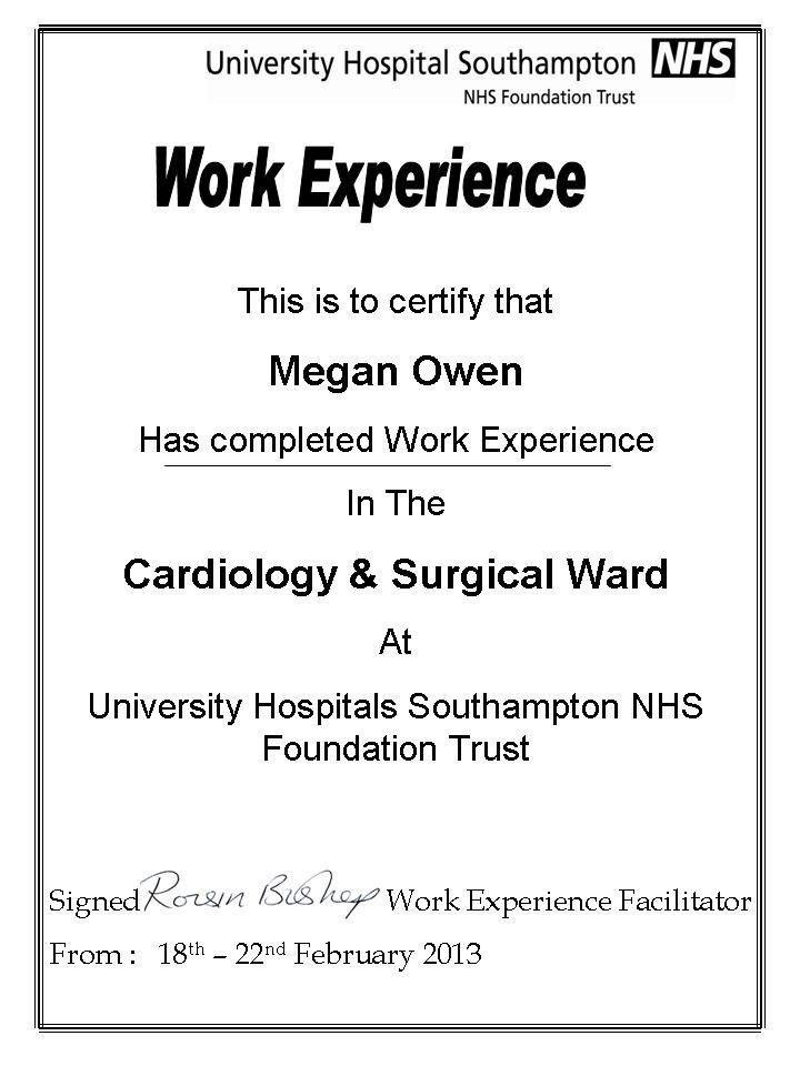 Work Experience Certificate Template - Certificate Templates