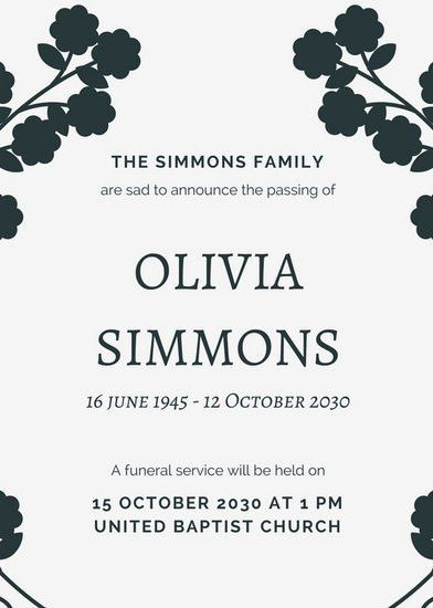 Obituary Announcement Templates - Canva