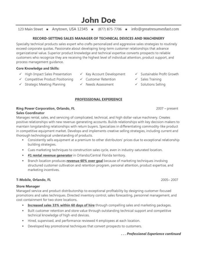 Retail Sales Manager Resume Samples | Resume Examples 2017