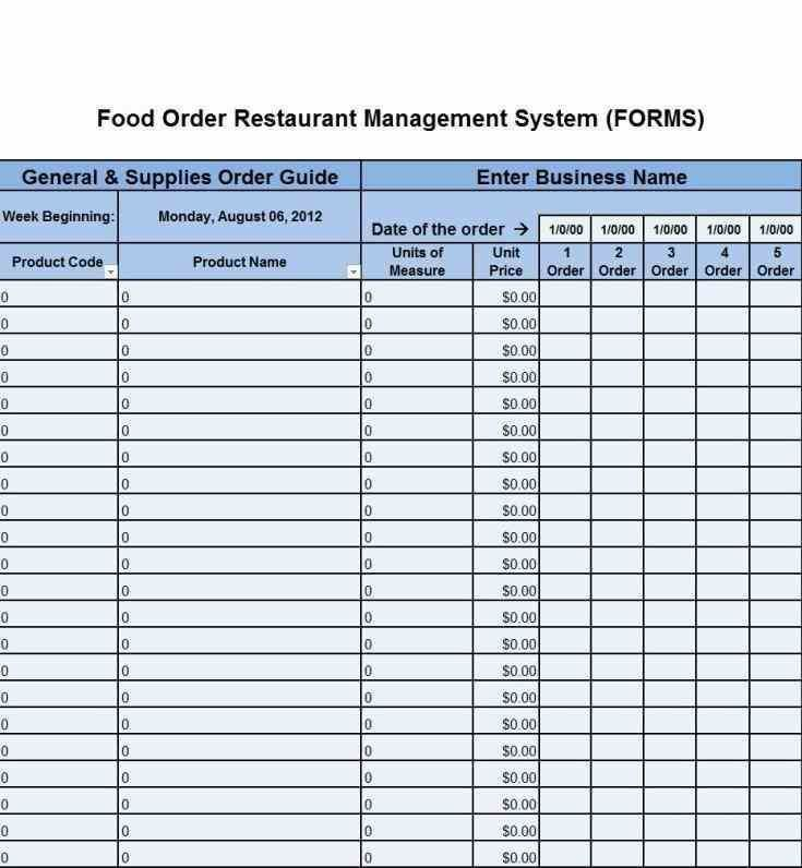 food order form template word