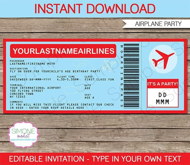 Airplane Ticket Invitations Template | Ticket invitation ...