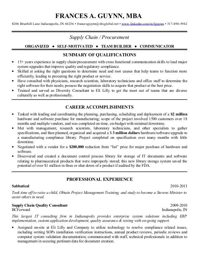 2013 Supply Chain Procurement Resume  Supply Chain Management Resume