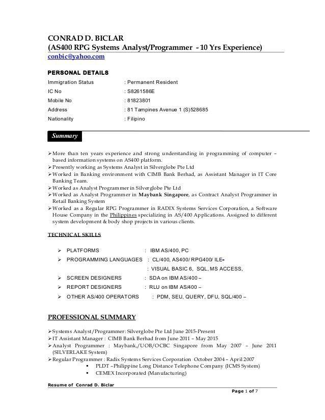 CV_Conrad Biclar - Resume
