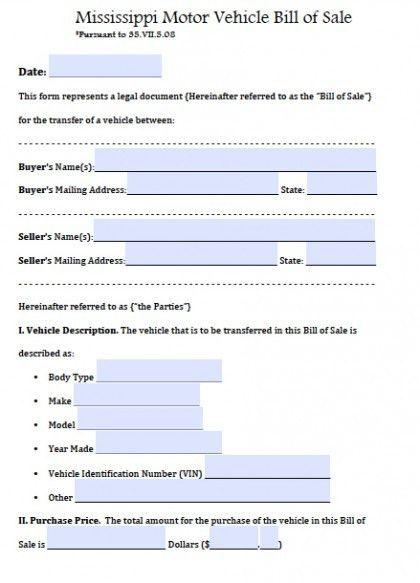 Free Mississippi Motor Vehicle Bill of Sale Form | PDF | Word (.doc)